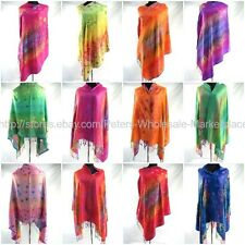*US SELLER*bulk lot 10 shawls  WHOLESALE PASHMINA SCARF RAINBOW