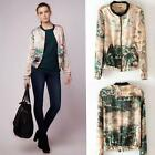 Fashion Stand Collar Splicing Double Pockets #G Floral Print Coat Jacket SML
