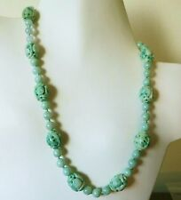 VINTAGE DECO CHINESE CARVED SHOU QILIN JADE JADEITE BEADS NECKLACE 20""