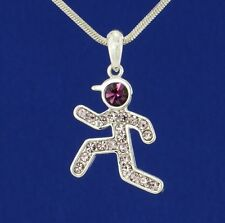 Runner w Swarovski Crystal Jogger Sport Running Men Boy Necklace Purple Jewelry