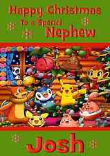 Pokemon A5 personalised Christmas card son daughter nephew niece grandson name.