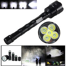 Tactical 10000 Lumen 5 x XML T6 LED Flashlight Torch Light 5 Modes 18650 Hunting