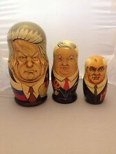Vintage HANDPAINTED NESTING DOLLS 3 PCS RUSSIAN SOVIET LEADERS