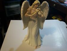 "#2   Large Porcelain Angel playing Violin Figurine 9½"" Tall Music Box  Ivory"