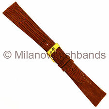 20mm Alfred Hammel Tan Genuine Teju Lizard Flat Unstitched Watch Band