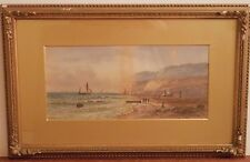 OLD ANTIQUE Fine Art WATERCOLOR PAINTING Seascape Artwork Artist signed vintage