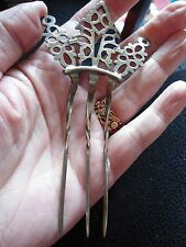 LARGE, VICTORIAN 800 SILVER ITALIAN CROWN HAIR COMB / SLIDE  FILIGREE WEDDING