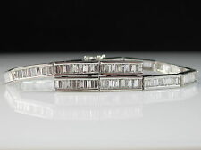 "14K 3.60ctw Baguette Diamond Bracelet Omega Safety Chain 6.5"" White Gold $6500"