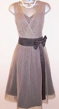 Lindy Bop Mink Tulle Bow 50's Vintage Style Evening Occasion Dress Size 18 NEW