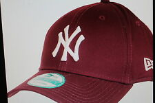 New York Yankees MLB Baseball New Era 9Forty Cap Kappe Bordeaux  weisses Logo