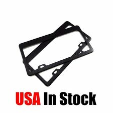 2 Pieces Stainless Steel Metal License Plate Frames Tag Cover Screw Caps Black
