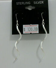 "Dangle Large over 2"" Twist .925 Sterling Silver Earrings New on Card $120 #E03"