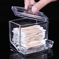 Clear Acrylic Cotton Swab Q-tip Storage Holder Box Cosmetic Makeup Organizer