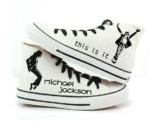 Michael Jackson hand painted sneaker canvas shoes men women White Color