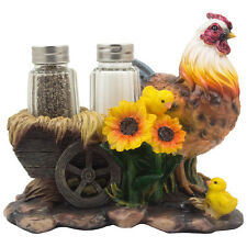 Mother Chicken and Chick Old-fashioned Wagon Cart Salt & Pepper Set Kitchen Gift