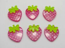 25 Resin Hot Pink Strawberry Cabochon 17X18mm For Scrapbook Hair Bows DIY Craft