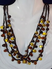 Vintage 3 Tier Golden Brown Honey Amber Glass Bead Brown Cord Necklace ext 4d 61