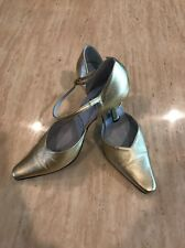 Cynthia Rowley Womens Gold Leather pumps With Straps Heels Pointy Toe Size 8