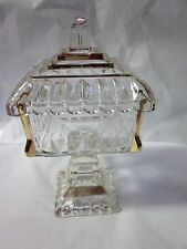 """1950s JEANETTE PRESSED GLASS WEDDING CANDY DISH Pedestal w/ Gold Trim 8.5"""" Tall"""