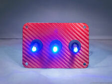3 HOLE RED Carbon Fiber 3D WRAP w/ LED toggle switches - BLUE