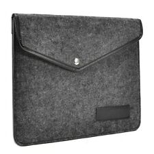 UNIK CASE-Edge Leather Black Felt Laptop Sleeve Bag for All 13-Inch Laptop