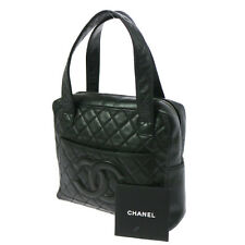Authentic CHANEL Quilted CC Logos Hand Bag Black Gold Leather Vintage A25941