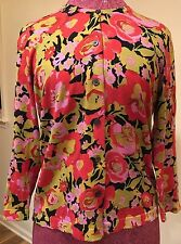 Isaac Mizrahi for target Floral Cardigan Sweater Size medium 74% silk