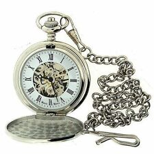 Boxx Mens Roman Numerals Silver Tone Skeleton Mechanical Pocket Watch 12 Chain