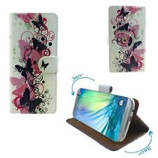 Mobile Phone Cover Wallet Case For Panasonic Eluga Mark 2 - Butterfly Pink L