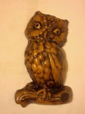 """Vintage Owl Wall Plaque - Faux Wood - Plaster 12"""""""