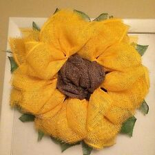 Yellow Sunflower Wreath Paper Mesh Wreath - Handmade
