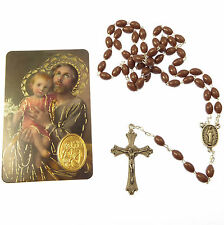St. Joseph brown basic plastic oval rosary beads with prayer card Catholic