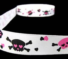 5 Yds Pink Black Rockabilly Skulls Crossbones Hearts Skeleton Grosgrain Ribbon 7
