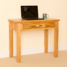 Newlyn Oak Small Desk / Oak Laptop Desk / Light Oak Hall Table with Drawer