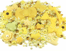 YELLOW Sparkle 10 Cabochons + 15g Rhinestone Pearl Set Kit DIY Deco Kawaii Craft