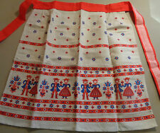 Apron Scandinavian NEW red tan blue flowered half Holland Dutch European