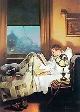 "Studying In Bed  Norman Rockwell Print  7"" x 10"" - Matted 11"" x 14"""
