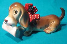 RARE 1950s MCM Vintage Basset Hound Porcelain Dog Figurine Nippon Japan Kitsch