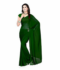 Solid Faux Chiffon Plain Saree Sari with Unstitched Faux Blouse Fabric