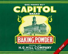 VINTAGE CAPITOL BRAND BAKING POWDER OLD FOOD AD POSTER ART REAL CANVAS PRINT