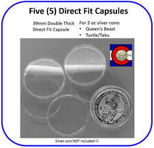 5 Double Thick 39mm Direct Fit Capsules - 2oz Silver Queen's Beast/Turtle Coins