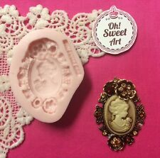 Brooch Lady cameo V  silicone mold fondant cake decorating clay food soap wax