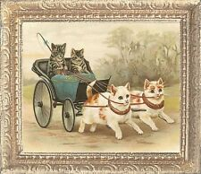 KITTY COACH Dollhouse Picture FRAMED Miniature Cat Art - MADE IN AMERICA