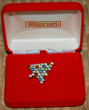 "Amanda Smith Christmas Tree 1"" Pin Brooch Costume Jewelry Multi Color CZ Vintage"