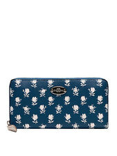 NWT Coach Badlands Floral Zip Around Wallet in Blue Multi F 53026 $250