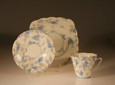 "British Royal Grafton  ""Ashley Blue"" Pattern Trio c. 1940s"