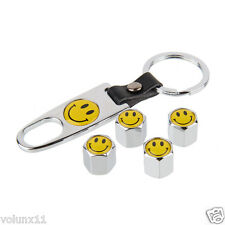 Smile Car Air Wheel Silver Tyre Valve Dust Caps Covers Spanner Keying Set x 4