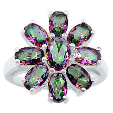 4.8cts Rainbow Topaz 925 Sterling Silver Ring Jewelry s.9 R5104MY-9