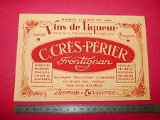 BUVARD VINS LIQUEUR MUSCAT DE FRONTIGNANT C. CRES-PERIER BANYULS 1950-1960