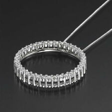 Mother's Day 1.00Ct Diamond Pendant 14K Gold Over Circle Necklace Hoop FINE EDH